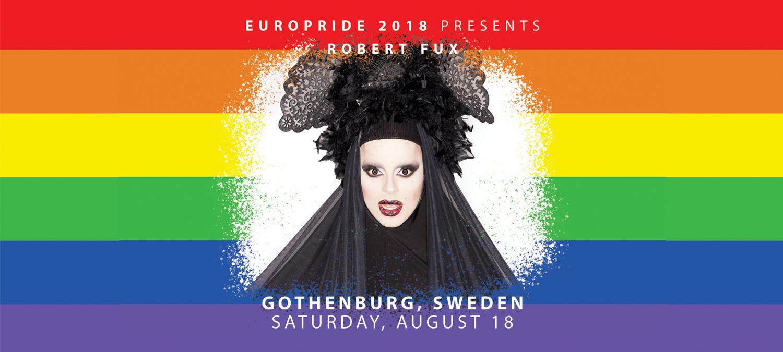Robert Fux leder avslutningen av EuroPride 2018 på Götaplatsen i Göteborg