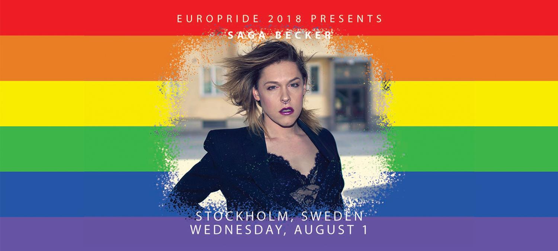 Saga Becker konferencier på EuroPride 2018 invigning 1 augusti i Stockholm